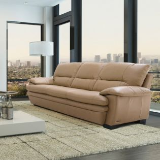 7893-A-Y-3S-Sand LB  Leather Sofa