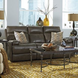 1437-62P  Power Leather Recliner Sofa