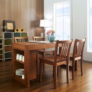 DT880-4-Oak  Dining Set (1 Table + 4 Chairs)