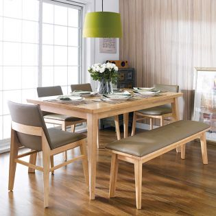 Zodax-6-Natural  Dining Set (1 Table + 4 Chairs + 1 Bench)