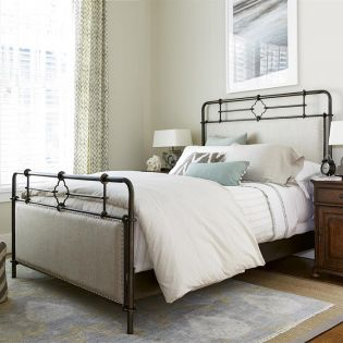 596310B Upholstered  Metal Bed