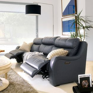 E1502-Pacific Blue Power Leather Recliner Sofa