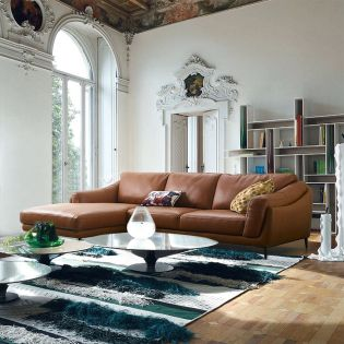 Masseto-Camel  Couch Leather Sofa