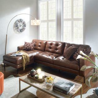 10320-Whisky -Chaise  Leather  Sofa (LAF only)