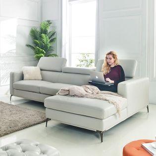U3012M  w/chaise Leather look sofa