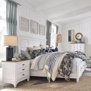 B4864-White  Panel Storage Bed  (침대+협탁+화장대)