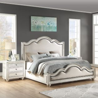 W1070 Harmony  Upholstered bed  (침대+협탁+화장대)