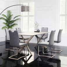 HT90035-6  Ceramic Dining Set  (1 Table + 6 Chairs)