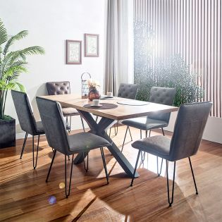 IA  Dining Set  (1 Table + 2 Brown + 4 Grey Chairs)