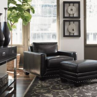 Black Ice  Sapphire Black Leather Chair