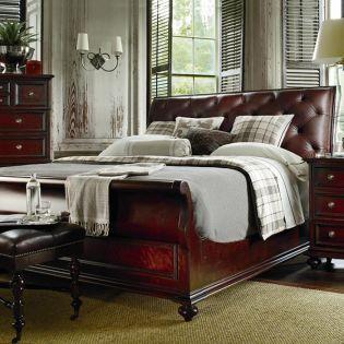 933-13 City Club Saville  Leather Sleigh Bed (침대+협탁+화장대)