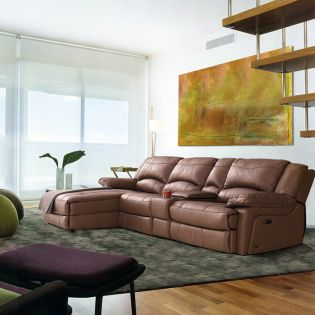T118  Power Leather Recliner RAF Sofa