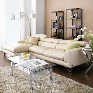 MU-A0030-Ivory  Top Leather Sofa w/ Chaise