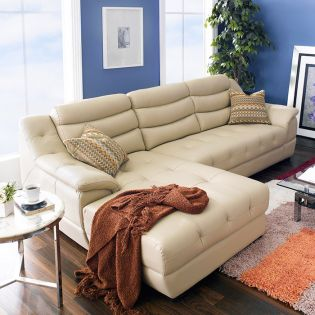 M8001-Beige  Leather Sofa w/ Chaise ~Right or Left 선택가능~ (천연가죽)