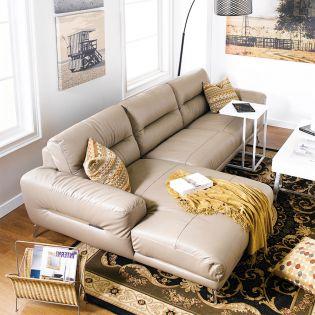 613-Cocoa Leather Sofa w/ Chaise