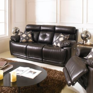 E1460-Brown  Power Leather Recliner Sofa