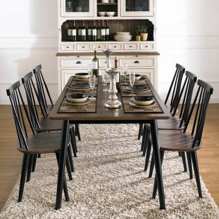 Julie-Black-6  Dining Set (1 Table + 6 Chairs)