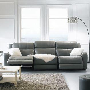 E1502-Grey  Power Leather Recliner Sofa