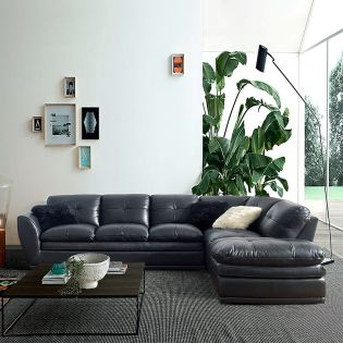 8188-Midnight  Leather Sofa