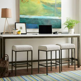 Curated 915X803   Essence Console Table Set (1 Table + 3 Stools)
