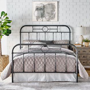 B4104-Grey  Metal Queen Bed