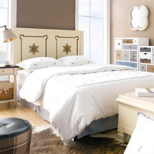 Cream & Gold  Queen Panel Bed