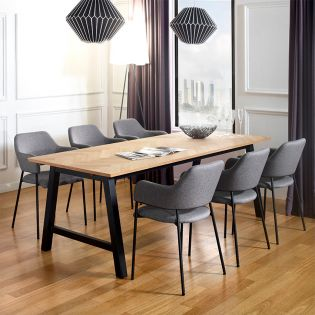 Brighton-6-Grey  Dining set  (1 Table+ 6 Chairs)