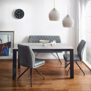 HT90064-4  Ceramic Dining Set  (1 Table + 2 Chairs + 1 Bench)