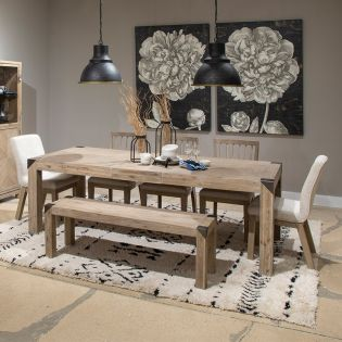 D5333-6  Dining Set  (1 Table + 2 Chairs + 2 Uph Chairs + 1 Bench)