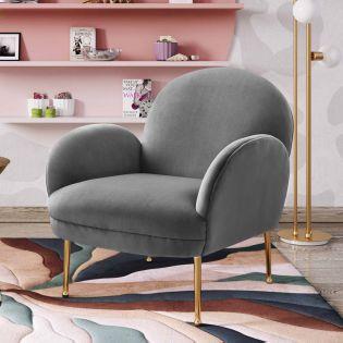 Tov-S6390  Gwen Grey Velvet Chair
